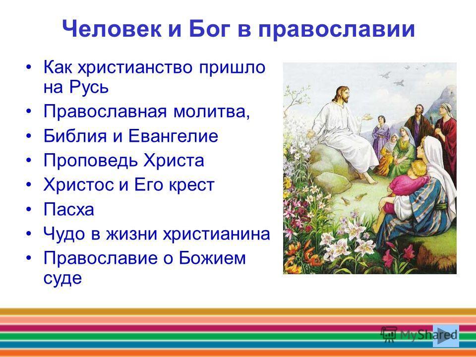 Человек и Бог в православии Как христианство пришло на Русь Православная молитва, Библия и Евангелие Проповедь Христа Христос и Его крест Пасха Чудо в жизни христианина Православие о Божием суде