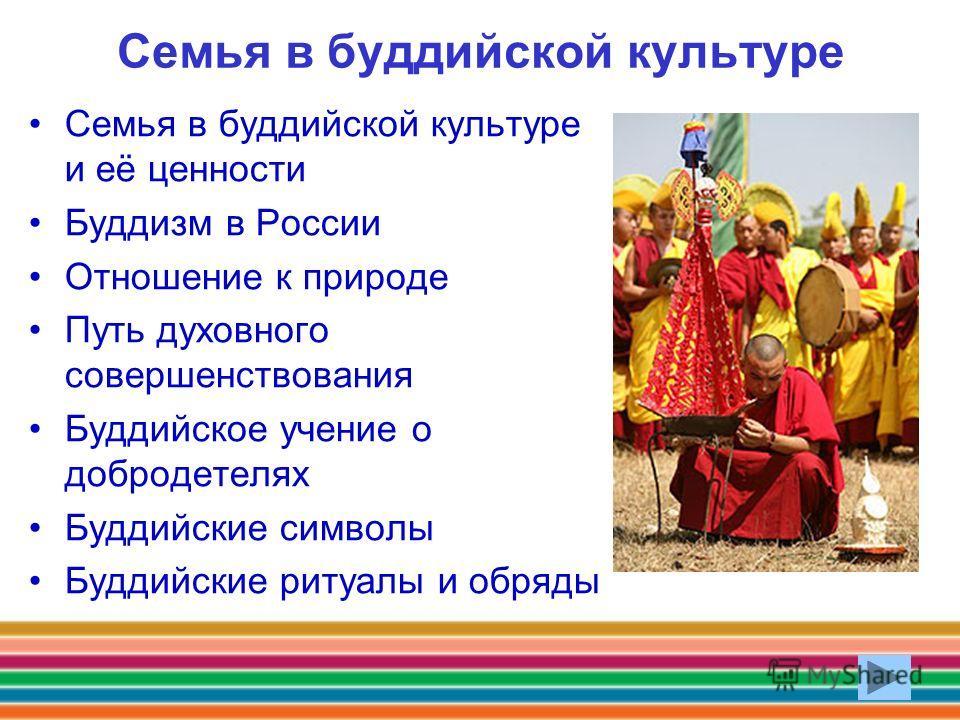 Семья в буддийской культуре Семья в буддийской культуре и её ценности Буддизм в России Отношение к природе Путь духовного совершенствования Буддийское учение о добродетелях Буддийские символы Буддийские ритуалы и обряды