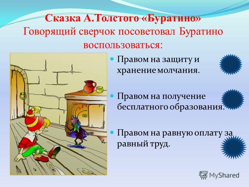 Сказка А.Толстого «Буратино» Говорящий сверчок посоветовал Буратино воспользоваться: Правом на защиту и хранение молчания. Правом на получение бесплатного образования. Правом на равную оплату за равный труд.