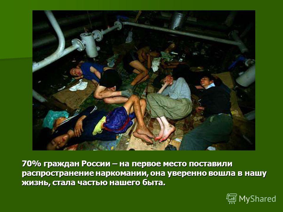 70% граждан России – на первое место поставили распространение наркомании, она уверенно вошла в нашу жизнь, стала частью нашего быта.