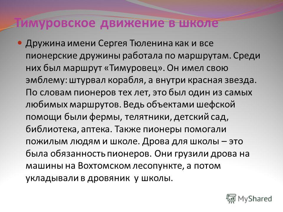Тимуровское движение в школе Дружина имени Сергея Тюленина как и все пионерские дружины работала по маршрутам. Среди них был маршрут «Тимуровец». Он имел свою эмблему: штурвал корабля, а внутри красная звезда. По словам пионеров тех лет, это был один