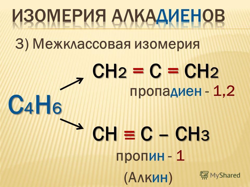3) Межклассовая изомерия С4Н6С4Н6С4Н6С4Н6 СH 2 = С = СH 2 пропадиен - 1,2 СH = С – СH 3 пропин - 1 (Алкин)