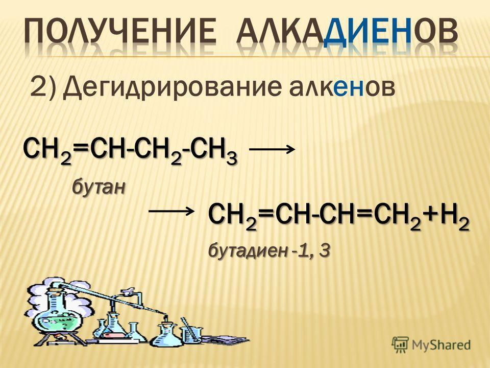 2) Дегидрирование алкенов СН 2 =СН-СН 2 -СН 3 бутан бутан СН 2 =СН-СН=СН 2 +Н 2 бутадиен -1, 3