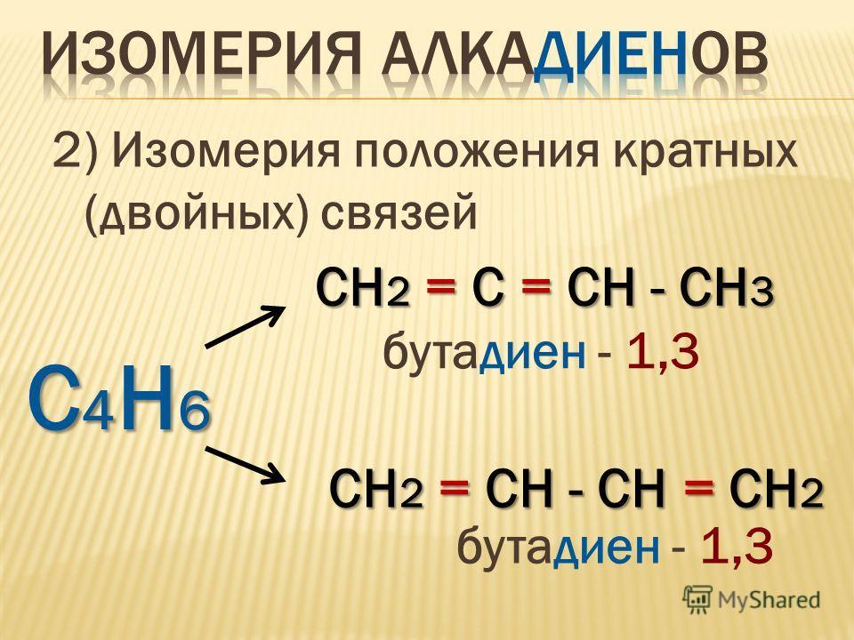2) Изомерия положения кратных (двойных) связей С4Н6С4Н6С4Н6С4Н6 СH 2 = С = СН - СH 3 бутадиен - 1,3 СH 2 = СН - СН = СH 2 бутадиен - 1,3