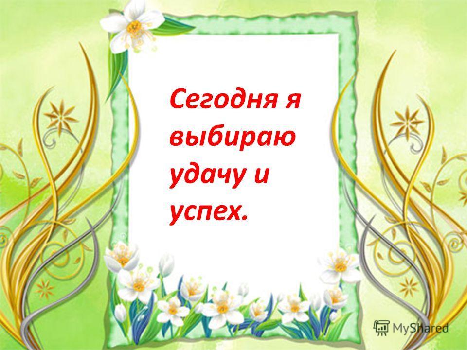 Сегодня я выбираю удачу и успех.