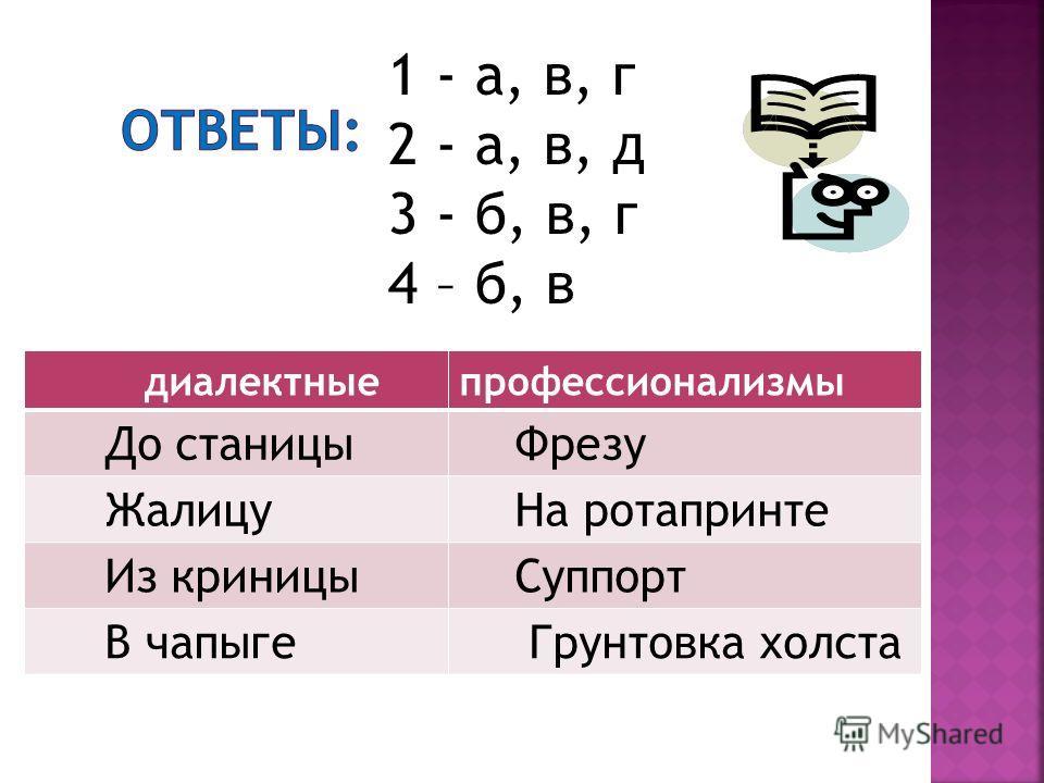 1 - а, в, г 2 - а, в, д 3 - б, в, г 4 – б, в диалектныепрофессионализмы До станицы Фрезу Жалицу На ротапринте Из криницы Суппорт В чапыге Грунтовка холста