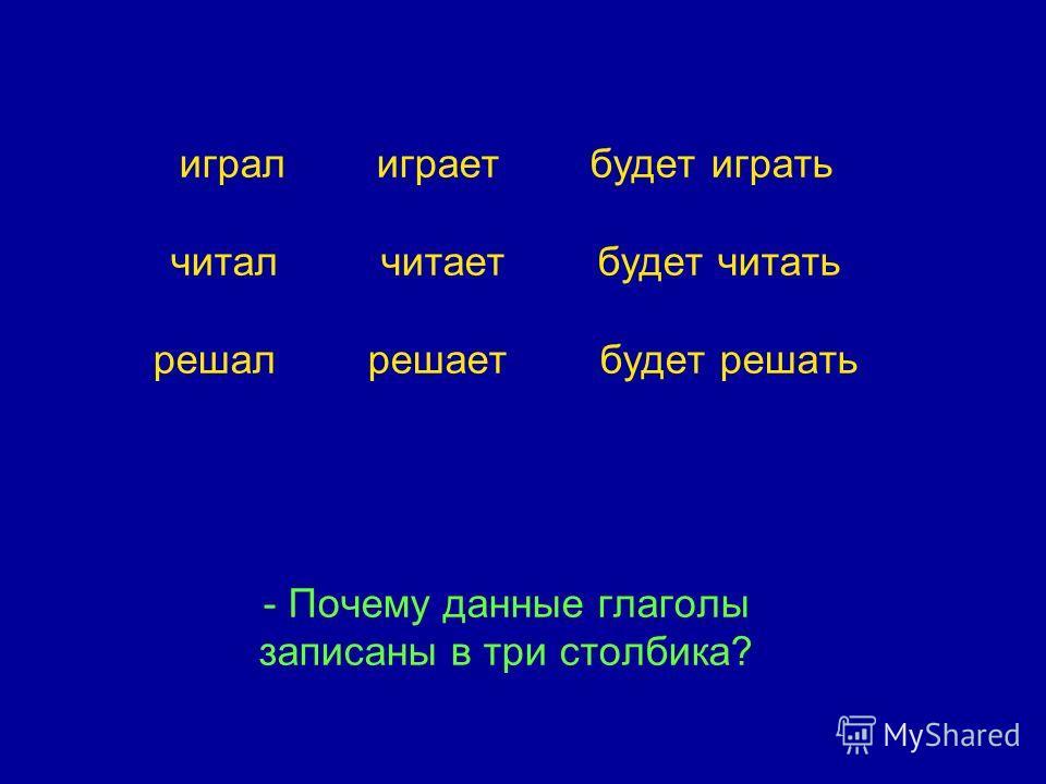 играл играет будет играть читал читает будет читать решал решает будет решать - Почему данные глаголы записаны в три столбика?