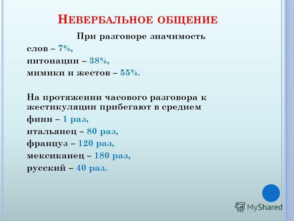 Н ЕВЕРБАЛЬНОЕ ОБЩЕНИЕ При разговоре значимость слов – 7%, интонации – 38%, мимики и жестов – 55%. На протяжении часового разговора к жестикуляции прибегают в среднем финн – 1 раз, итальянец – 80 раз, француз – 120 раз, мексиканец – 180 раз, русский –