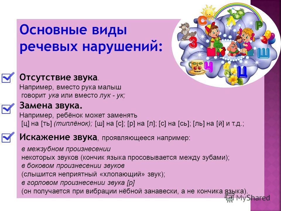 Основные виды речевых нарушений: Отсутствие звука. Например, вместо рука малыш говорит ука или вместо лук - ук; Замена звука. Например, ребёнок может заменять [ц] на [ть] (типлёнок); [ш] на [с]; [р] на [л]; [с] на [сь]; [ль] на [й] и т.д.; Искажение