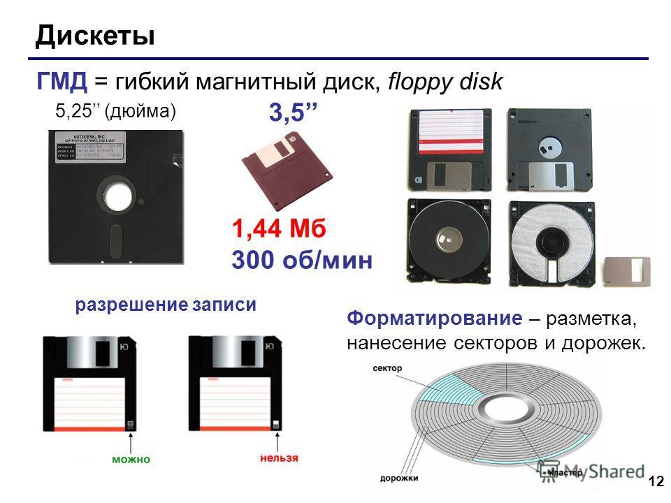 12 Дискеты ГМД = гибкий магнитный диск, floppy disk 5,25 (дюйма) 3,5 разрешение записи Форматирование – разметка, нанесение секторов и дорожек. 1,44 Мб 300 об/мин