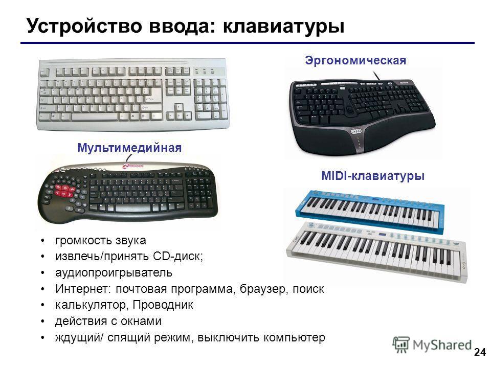 24 Устройство ввода: клавиатуры MIDI-клавиатуры Эргономическая Мультимедийная громкость звука извлечь/принять CD-диск; аудиопроигрыватель Интернет: почтовая программа, браузер, поиск калькулятор, Проводник действия с окнами ждущий/ спящий режим, выкл