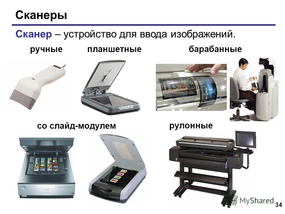 34 Сканеры со слайд-модулем Сканер – устройство для ввода изображений. барабанныепланшетные рулонные ручные