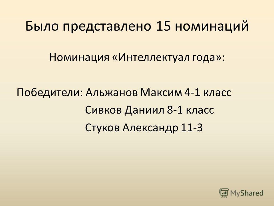 Было представлено 15 номинаций Номинация «Интеллектуал года»: Победители: Альжанов Максим 4-1 класс Сивков Даниил 8-1 класс Стуков Александр 11-3