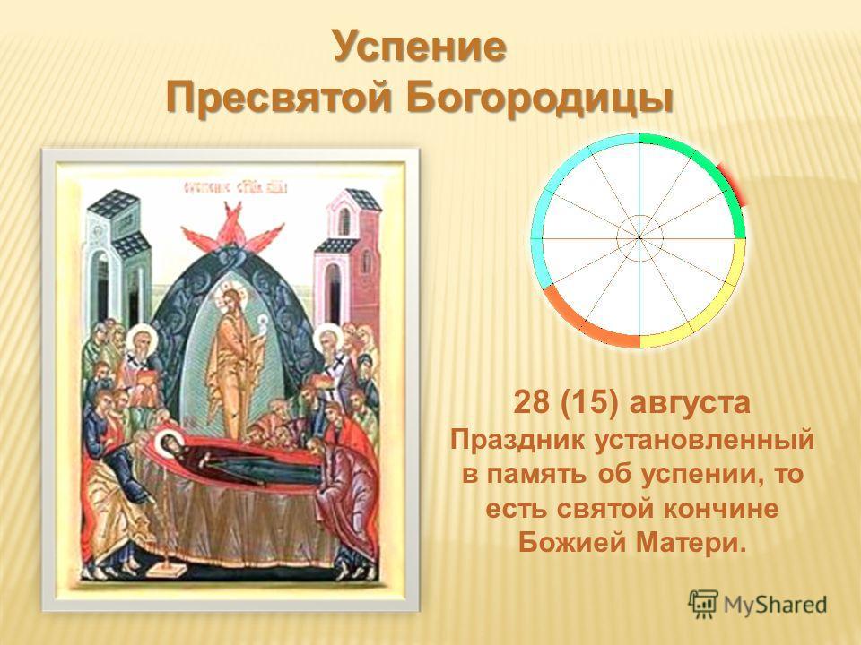 Успение Пресвятой Богородицы 28 (15) августа Праздник установленный в память об успении, то есть святой кончине Божией Матери.