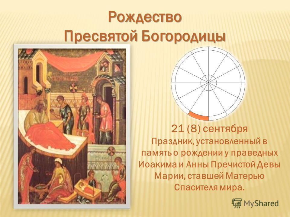 Рождество Пресвятой Богородицы 21 (8) сентября Праздник, установленный в память о рождении у праведных Иоакима и Анны Пречистой Девы Марии, ставшей Матерью Спасителя мира.