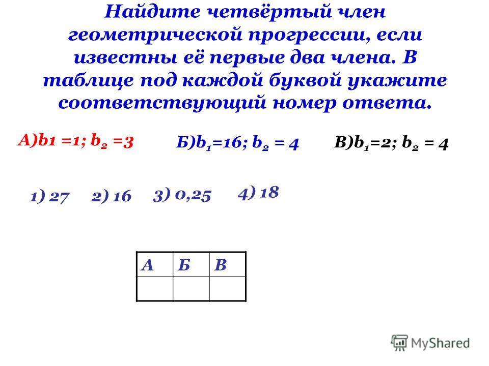 Найдите четвёртый член геометрической прогрессии, если известны её первые два члена. В таблице под каждой буквой укажите соответствующий номер ответа. A)b1 =1; b 2 =3 Б)b 1 =16; b 2 = 4В)b 1 =2; b 2 = 4 1) 272) 16 3) 0,25 4) 18 АБВ