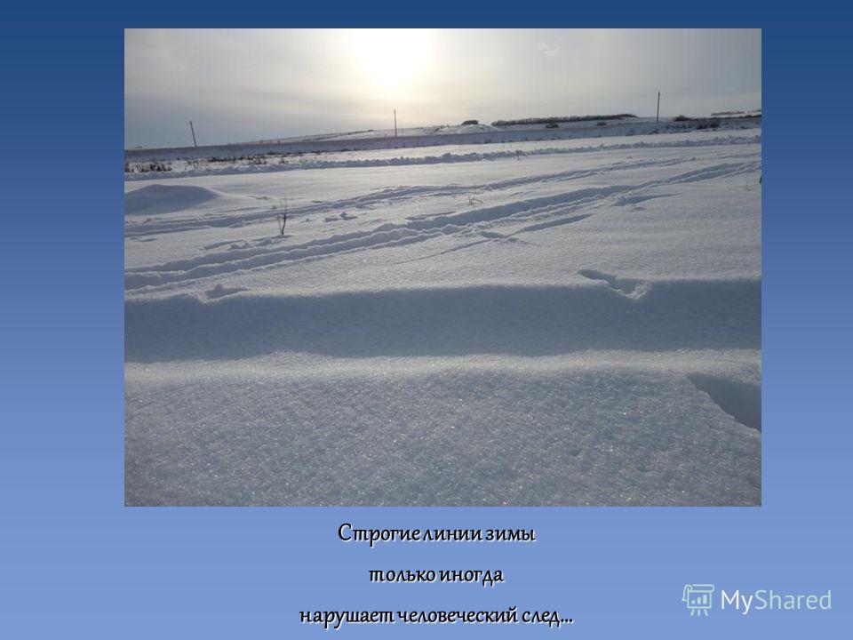 Строгие линии зимы только иногда нарушает человеческий след…