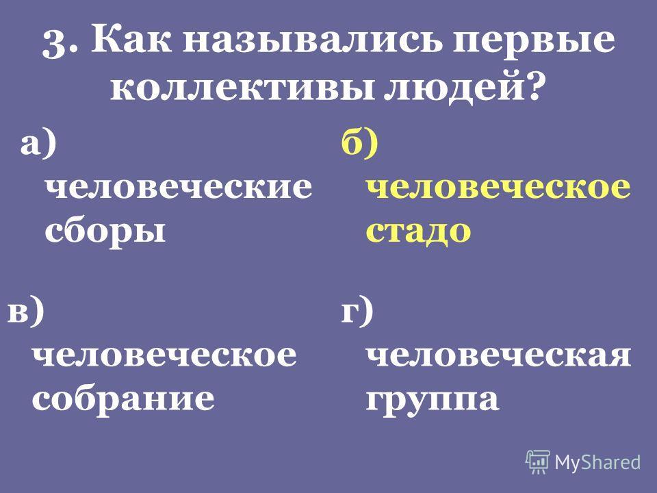 3. Как назывались первые коллективы людей? а) человеческие сборы б) человеческое стадо в) человеческое собрание г) человеческая группа
