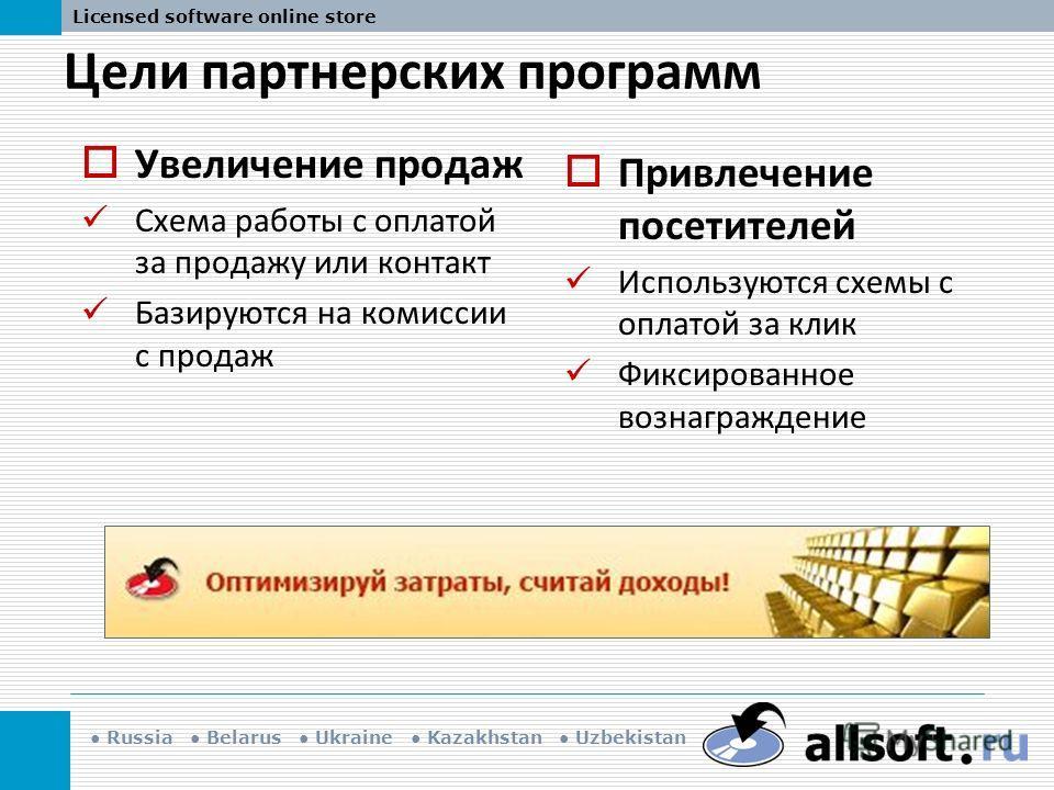 Russia Belarus Ukraine Kazakhstan Uzbekistan Licensed software online store Цели партнерских программ Привлечение посетителей Используются схемы с оплатой за клик Фиксированное вознаграждение Увеличение продаж Схема работы с оплатой за продажу или ко