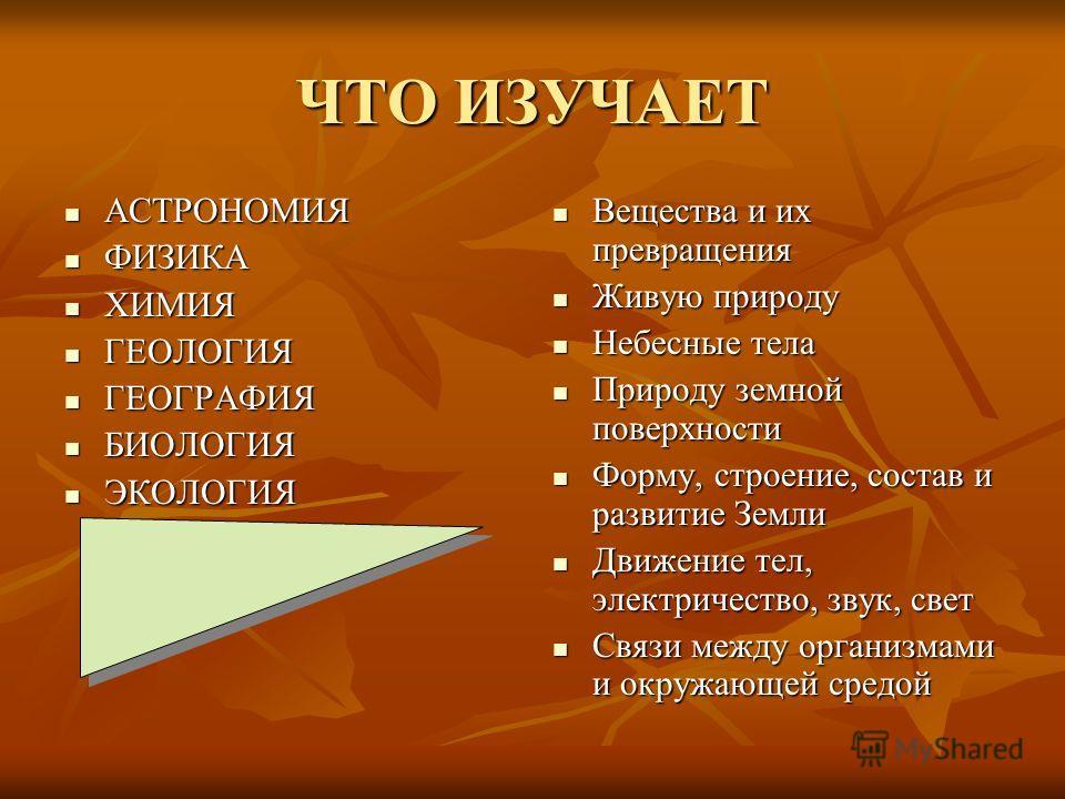 ЧТО ИЗУЧАЕТ АСТРОНОМИЯ АСТРОНОМИЯ ФИЗИКА ФИЗИКА ХИМИЯ ХИМИЯ ГЕОЛОГИЯ ГЕОЛОГИЯ ГЕОГРАФИЯ ГЕОГРАФИЯ БИОЛОГИЯ БИОЛОГИЯ ЭКОЛОГИЯ ЭКОЛОГИЯ Вещества и их превращения Вещества и их превращения Живую природу Живую природу Небесные тела Небесные тела Природу