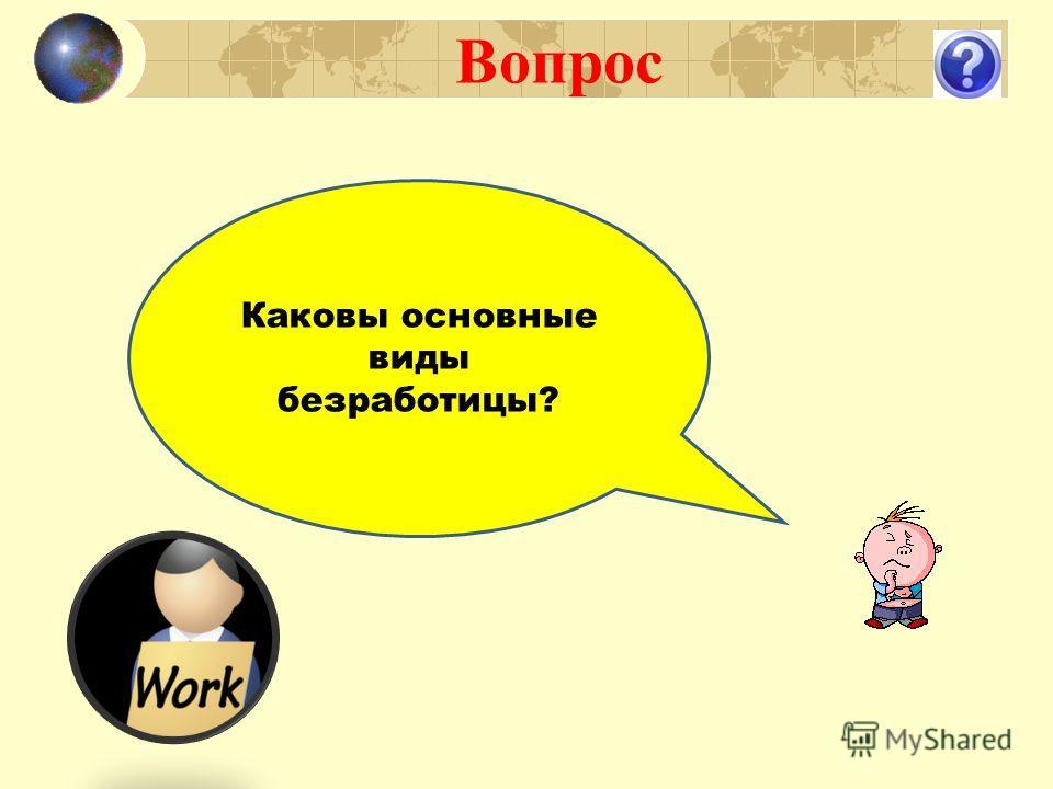 Вопрос Каковы основные виды безработицы?
