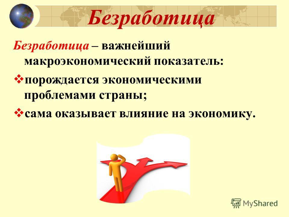 Безработица Безработица – важнейший макроэкономический показатель: п орождается экономическими проблемами страны; с ама оказывает влияние на экономику.