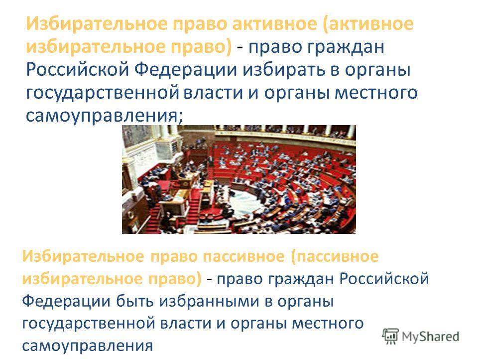 Избирательное право активное (активное избирательное право) - право граждан Российской Федерации избирать в органы государственной власти и органы местного самоуправления; Избирательное право пассивное (пассивное избирательное право) - право граждан