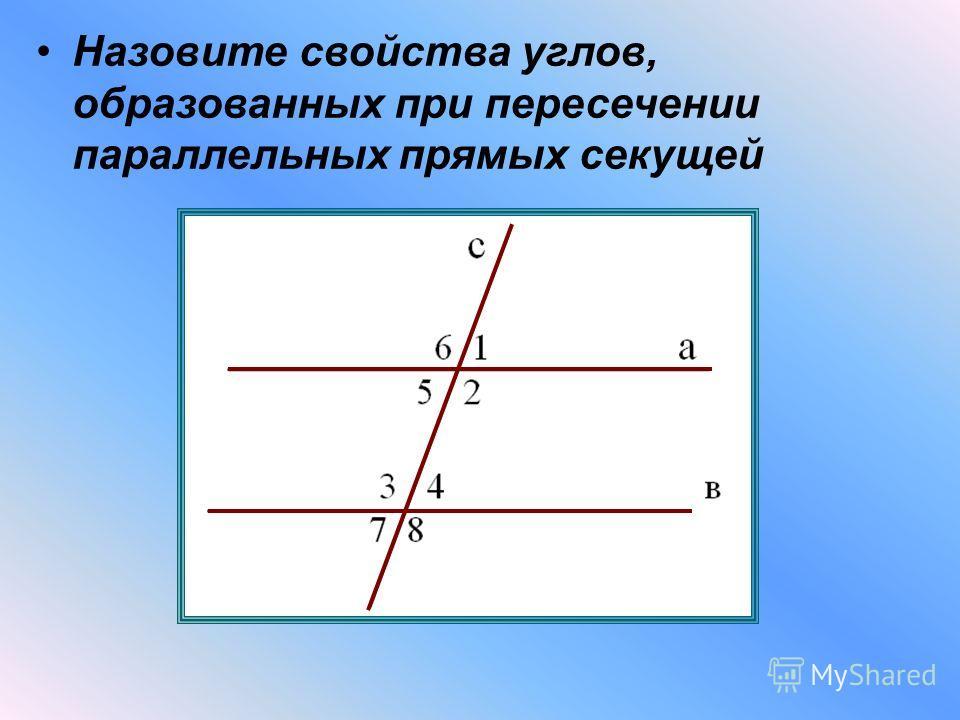Назовите свойства углов, образованных при пересечении параллельных прямых секущей