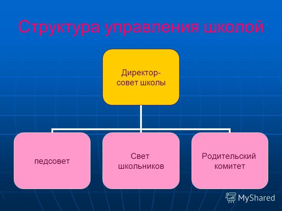 Структура управления школой Директор- совет школы педсовет Свет школьников Родительски й комитет