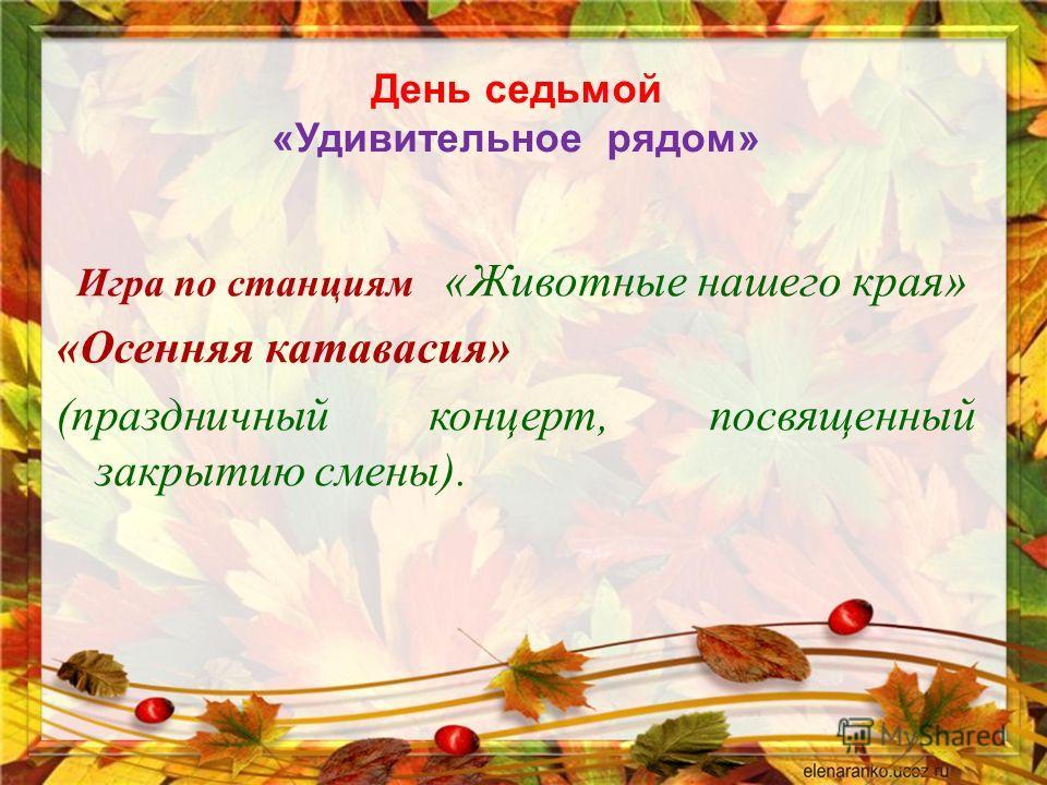 День седьмой « Удивительное рядом » Игра по станциям « Животные нашего края » « Осенняя катавасия » ( праздничный концерт, посвященный закрытию смены ).