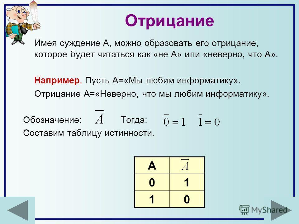 Отрицание Имея суждение А, можно образовать его отрицание, которое будет читаться как «не А» или «неверно, что А». Например. Пусть А=«Мы любим информатику». Отрицание А=«Неверно, что мы любим информатику». Обозначение: Тогда: Составим таблицу истинно