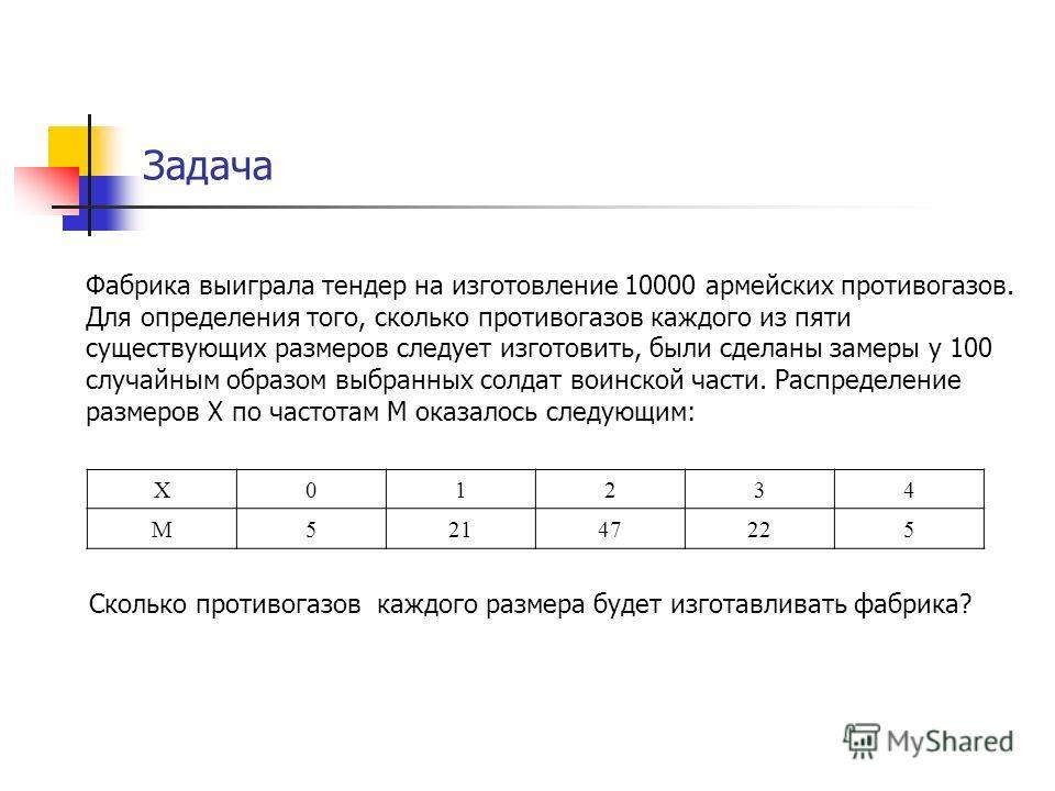 Задача Фабрика выиграла тендер на изготовление 10000 армейских противогазов. Для определения того, сколько противогазов каждого из пяти существующих размеров следует изготовить, были сделаны замеры у 100 случайным образом выбранных солдат воинской ча