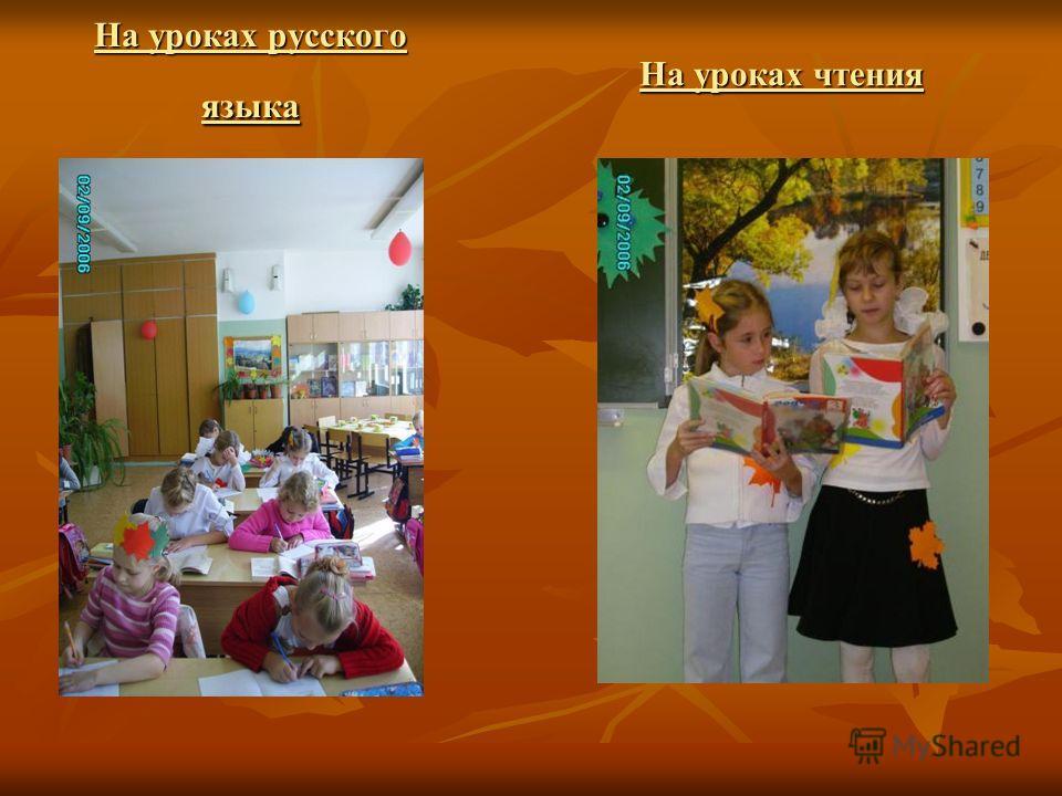 На уроках русского языка На уроках чтения