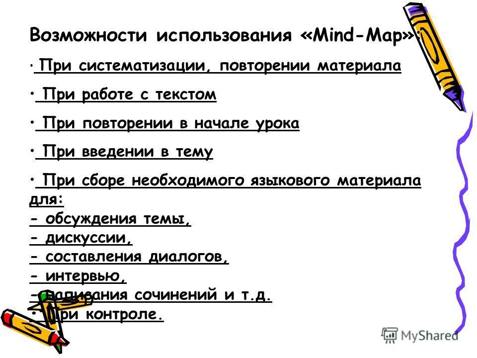 Возможности использования «Mind-Map»: При систематизации, повторении материала При работе с текстом При повторении в начале урока При введении в тему При сборе необходимого языкового материала для: - обсуждения темы, - дискуссии, - составления диалог