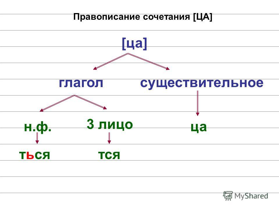 [ца] н.ф. ться 3 лицо тся Правописание сочетания [ЦА] глаголсуществительное ца