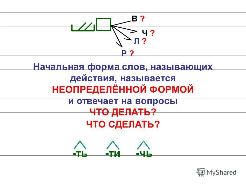 В ? Ч ? Л ? Р ? Начальная форма слов, называющих действия, называется НЕОПРЕДЕЛЁННОЙ ФОРМОЙ и отвечает на вопросы ЧТО ДЕЛАТЬ? ЧТО СДЕЛАТЬ? -ть-ти-чь