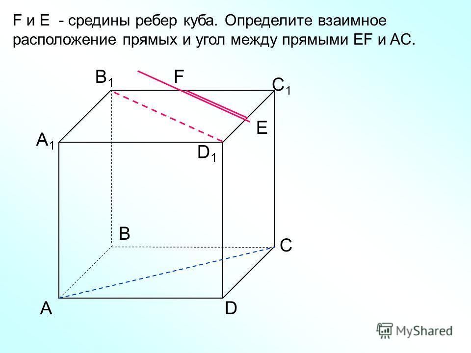 АD С В B1B1 С1С1 D1D1 А1А1 F E F и E - средины ребер куба. Определите взаимное расположение прямых и угол между прямыми EF и AC.