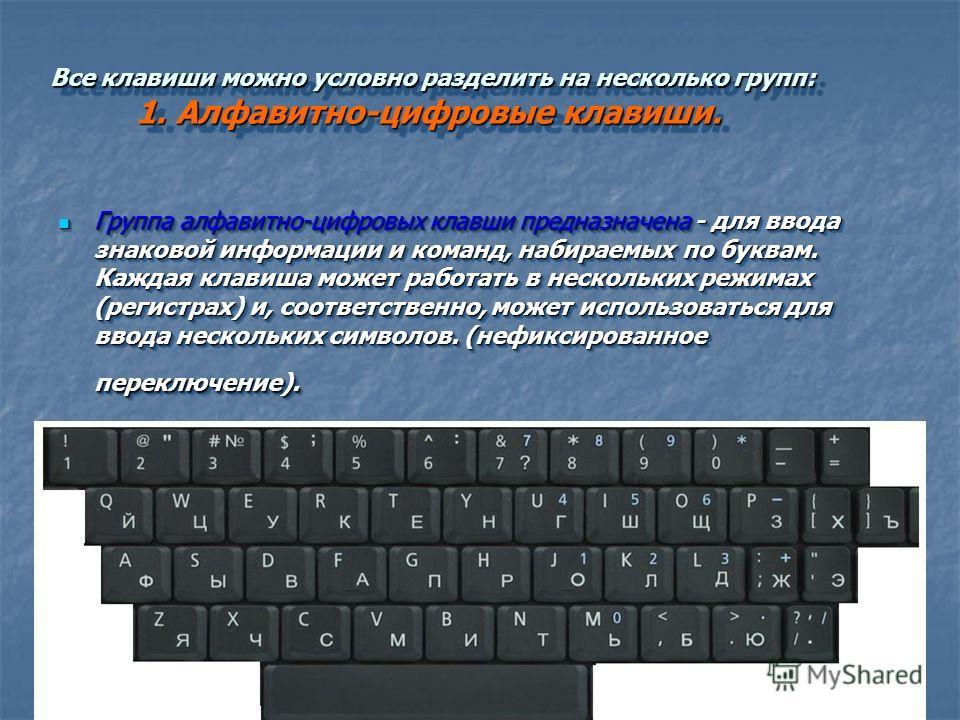 Группа алфавитно-цифровых клавши предназначена - для ввода знаковой информации и команд, набираемых по буквам. Каждая клавиша может работать в нескольких режимах (регистрах) и, соответственно, может использоваться для ввода нескольких символов. (нефи