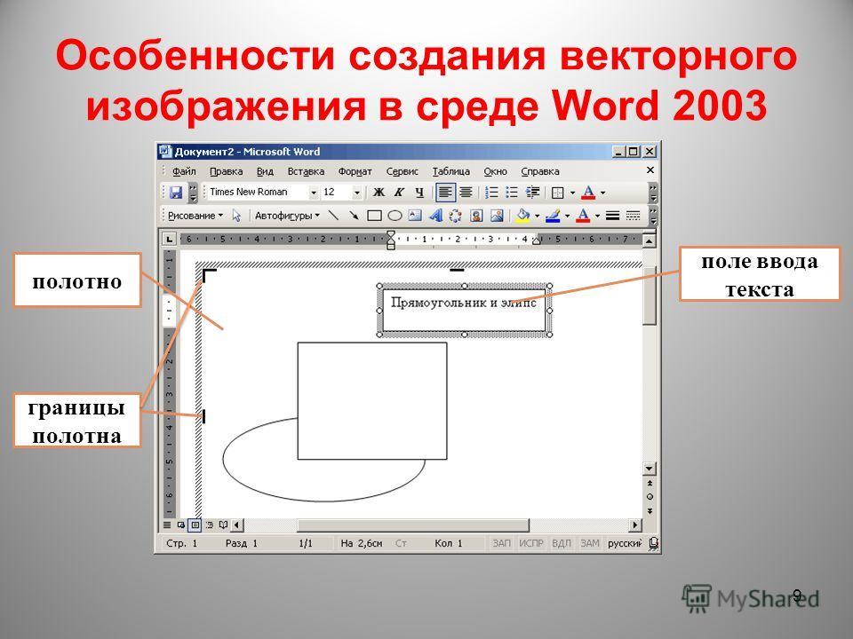 Особенности создания векторного изображения в среде Word 2003 9 полотно границы полотна поле ввода текста
