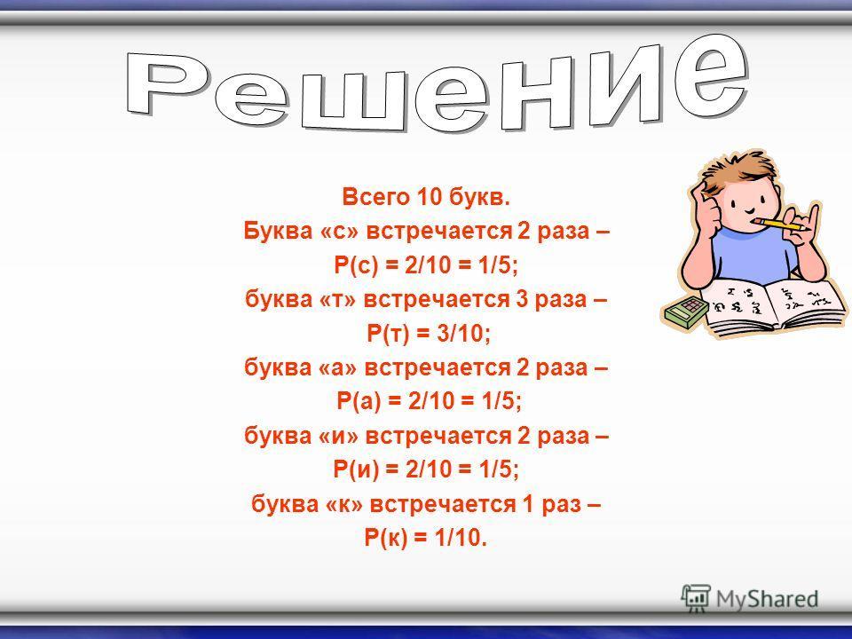 Всего 10 букв. Буква «с» встречается 2 раза – P(с) = 2/10 = 1/5; буква «т» встречается 3 раза – P(т) = 3/10; буква «а» встречается 2 раза – P(а) = 2/10 = 1/5; буква «и» встречается 2 раза – P(и) = 2/10 = 1/5; буква «к» встречается 1 раз – P(к) = 1/10