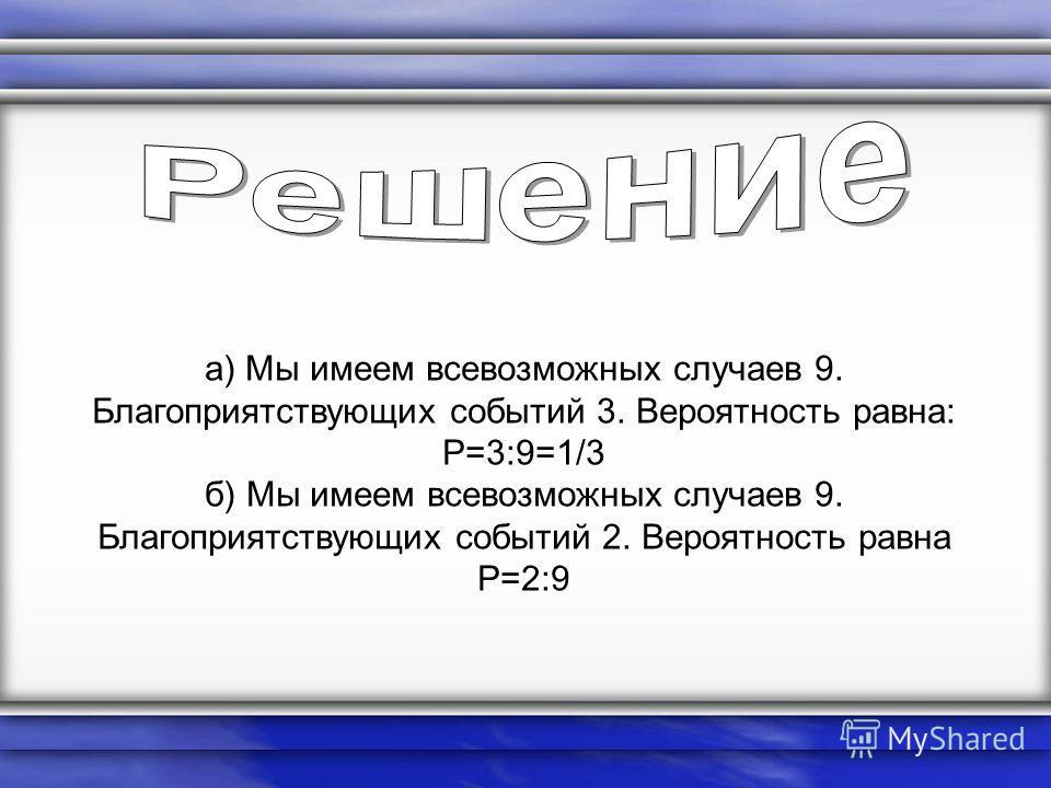 а) Мы имеем всевозможных случаев 9. Благоприятствующих событий 3. Вероятность равна: P=3:9=1/3 б) Мы имеем всевозможных случаев 9. Благоприятствующих событий 2. Вероятность равна P=2:9