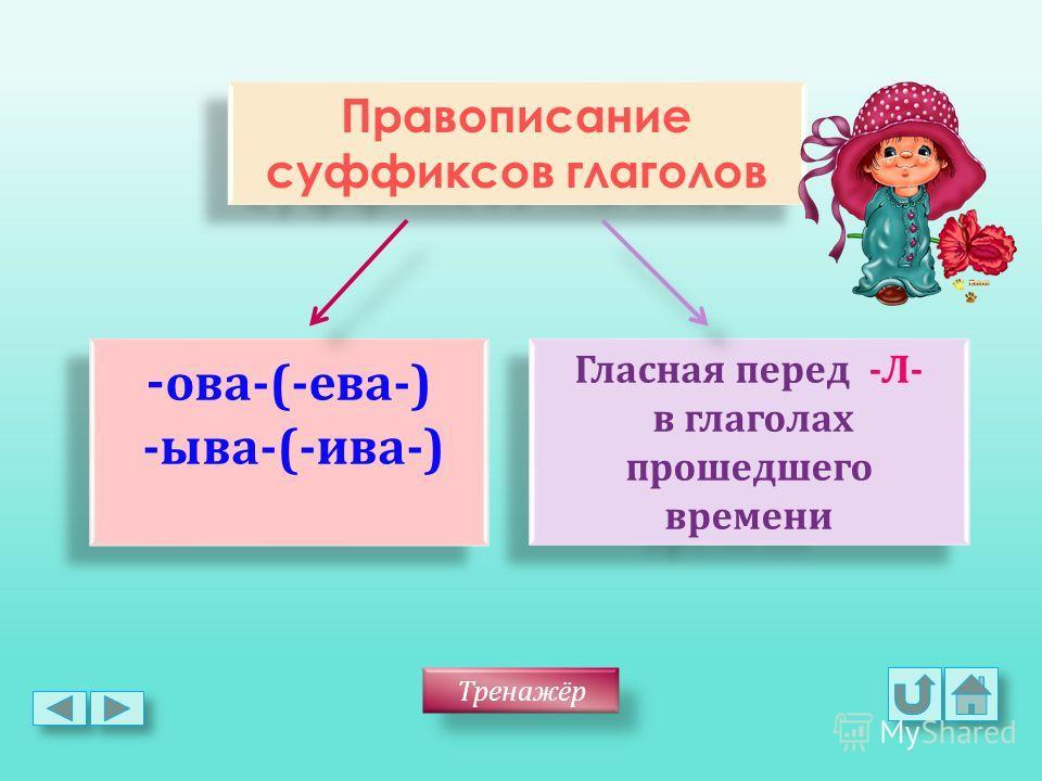 Правописание суффиксов глаголов Правописание суффиксов глаголов - ова -(- ева -) - ыва -(- ива -) - ова -(- ева -) - ыва -(- ива -) Гласная перед - Л - в глаголах прошедшего времени Гласная перед - Л - в глаголах прошедшего времени Тренажёр