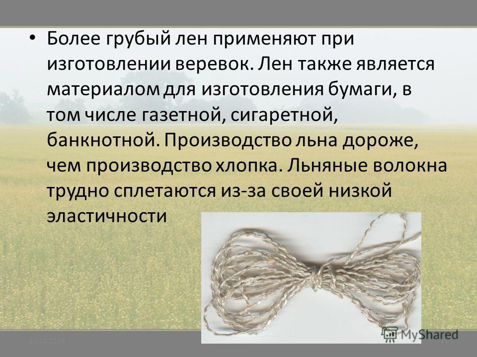 Более грубый лен применяют при изготовлении веревок. Лен также является материалом для изготовления бумаги, в том числе газетной, сигаретной, банкнотной. Производство льна дороже, чем производство хлопка. Льняные волокна трудно сплетаются из-за своей