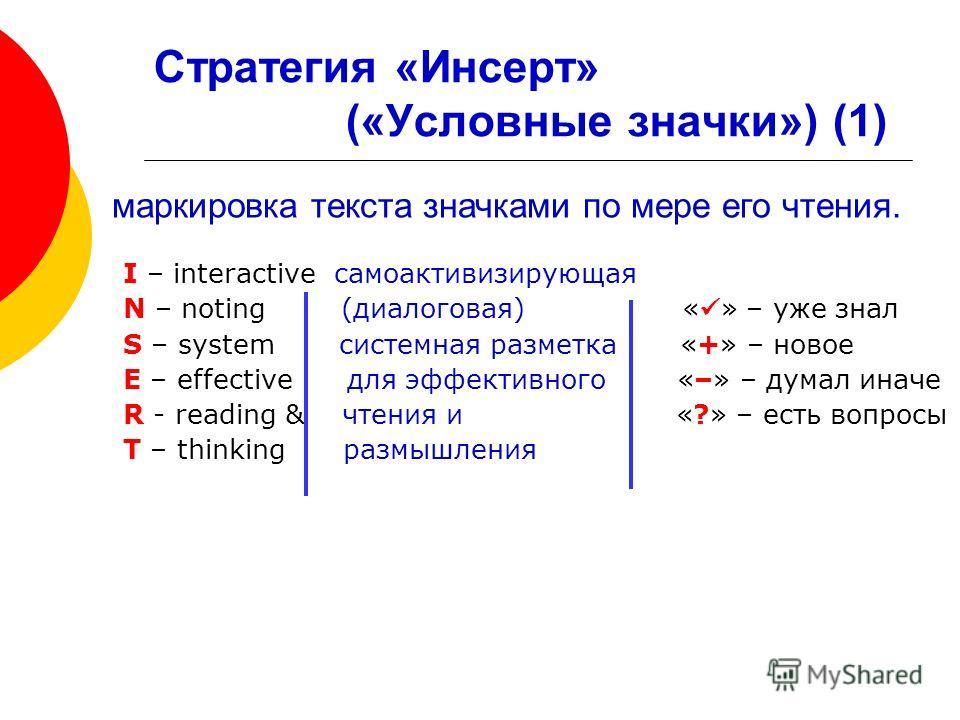 Стратегия «Инсерт» («Условные значки») (1) I – interactive самоактивизирующая N – noting (диалоговая) « » – уже знал S – system системная разметка «+» – новое E – effective для эффективного «–» – думал иначе R - reading & чтения и «?» – есть вопросы