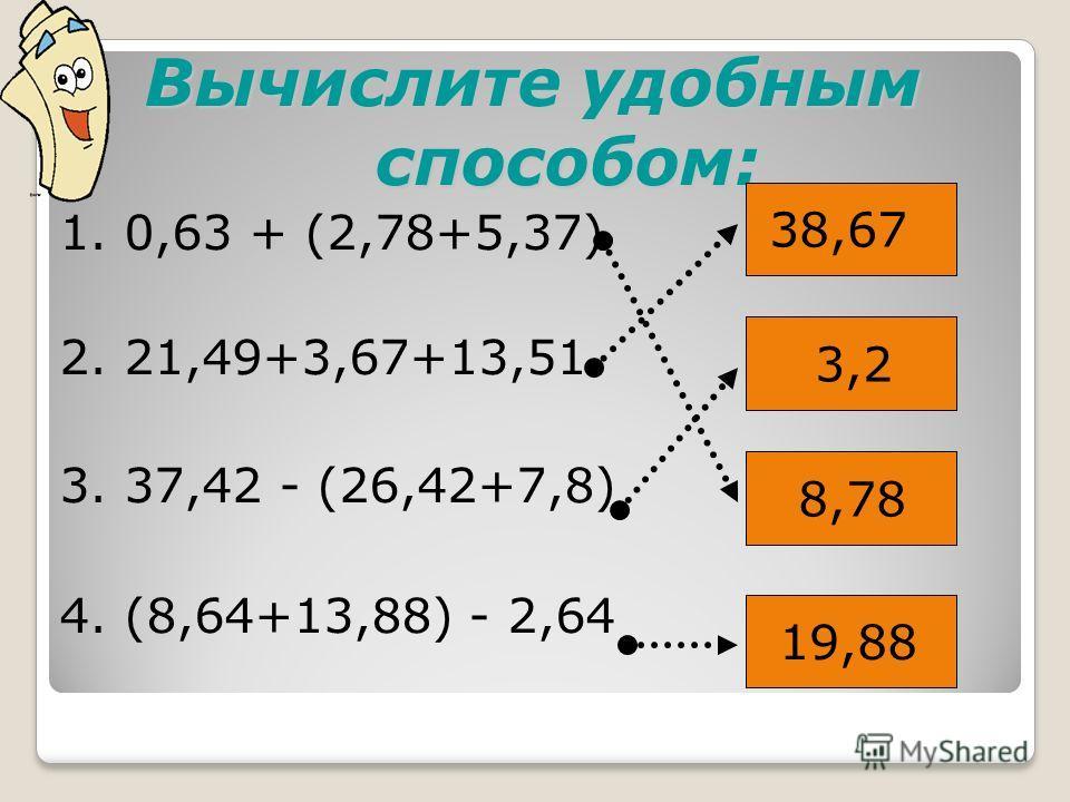 Вычислите удобным способом: 1. 0,63 + (2,78+5,37) 2. 21,49+3,67+13,51 3. 37,42 - (26,42+7,8) 4. (8,64+13,88) - 2,64 38,67 3,2 8,78 19,88