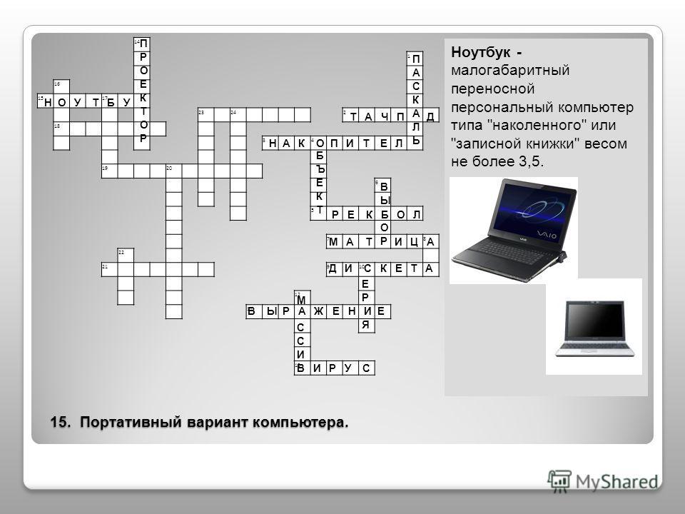 15. Портативный вариант компьютера. Ноутбук - малогабаритный переносной персональный компьютер типа