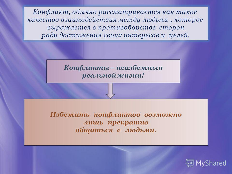 Конфликт, обычно рассматривается как такое качество взаимодействия между людьми, которое выражается в противоборстве сторон ради достижения своих интересов и целей. Конфликты – неизбежны в реальной жизни! Избежать конфликтов возможно лишь прекратив о