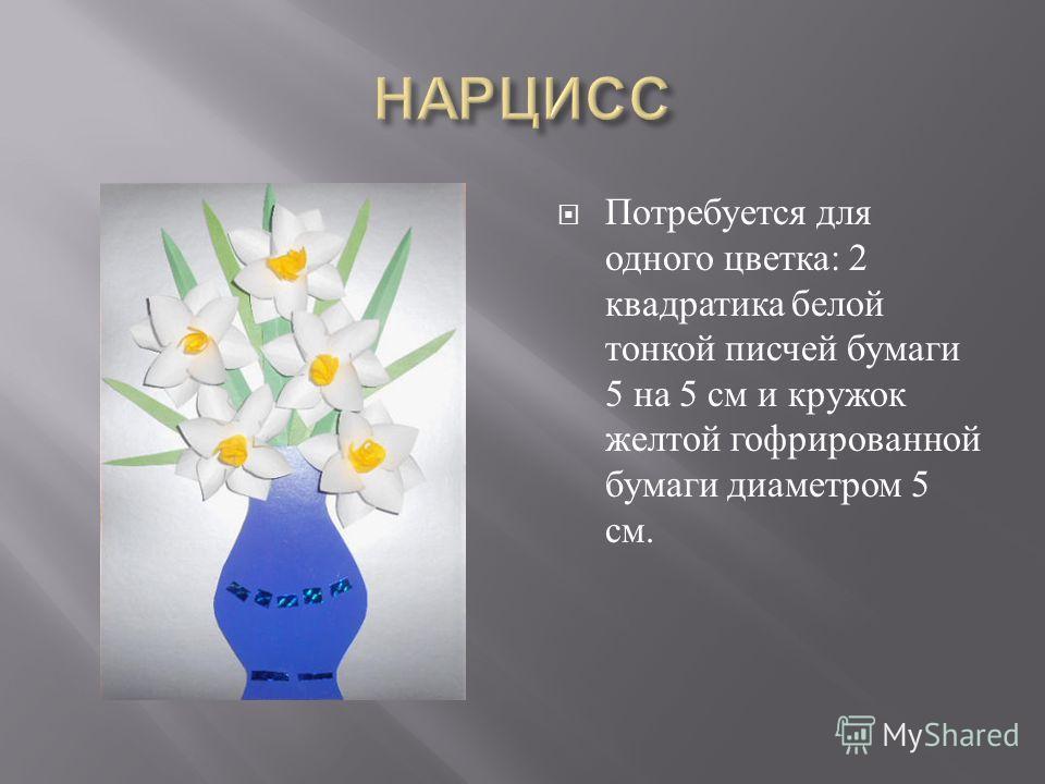 Потребуется для одного цветка : 2 квадратика белой тонкой писчей бумаги 5 на 5 см и кружок желтой гофрированной бумаги диаметром 5 см.