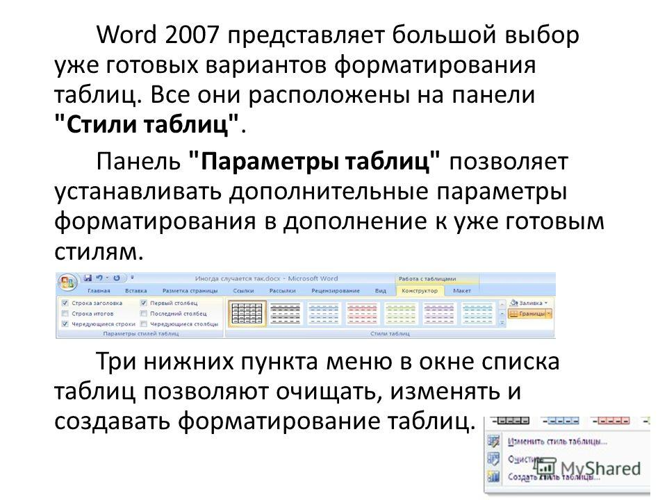 Word 2007 представляет большой выбор уже готовых вариантов форматирования таблиц. Все они расположены на панели