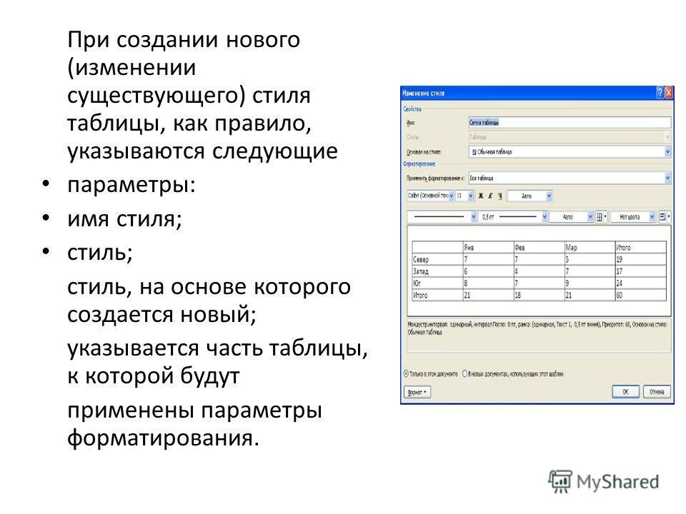 При создании нового (изменении существующего) стиля таблицы, как правило, указываются следующие параметры: имя стиля; стиль; стиль, на основе которого создается новый; указывается часть таблицы, к которой будут применены параметры форматирования.